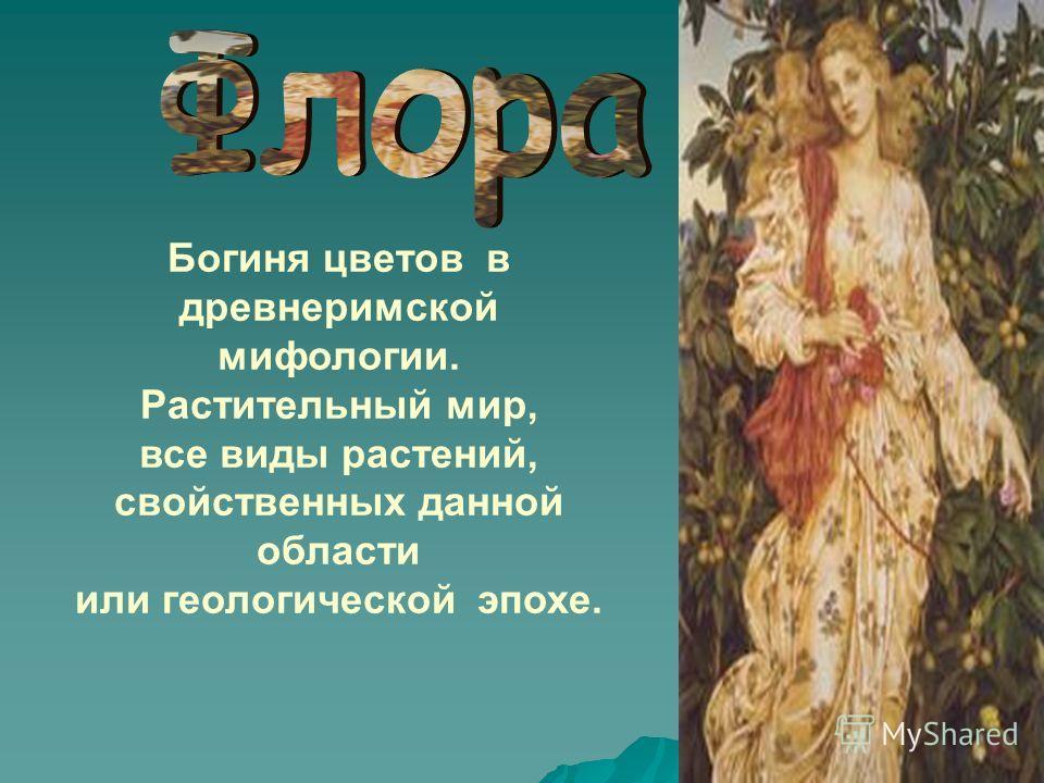 Богиня цветов в древнеримской мифологии. Растительный мир, все виды растений, свойственных данной области или геологической эпохе.