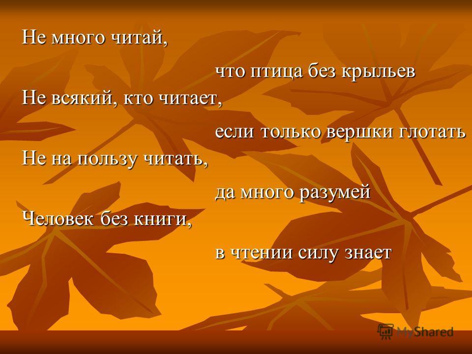 Не много читай, Не всякий, кто читает, Не на пользу читать, Человек без книги, что птица без крыльев если только вершки глотать да много разумей в чтении силу знает