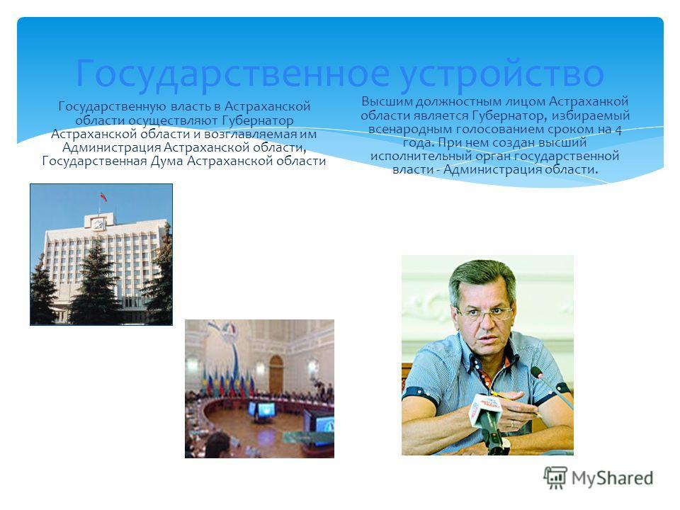 Государственное устройство Государственную власть в Астраханской области осуществляют Губернатор Астраханской области и возглавляемая им Администрация Астраханской области, Государственная Дума Астраханской области Высшим должностным лицом Астраханко