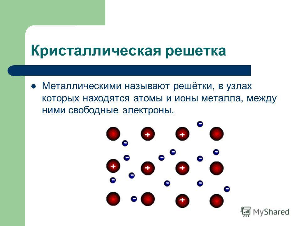 Кристаллическая решетка Металлическими называют решётки, в узлах которых находятся атомы и ионы металла, между ними свободные электроны.