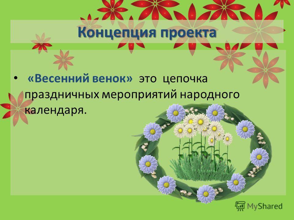 Концепция проекта «Весенний венок» это цепочка праздничных мероприятий народного календаря.