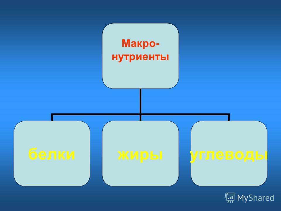 Макро- нутриенты белкижирыуглеводы