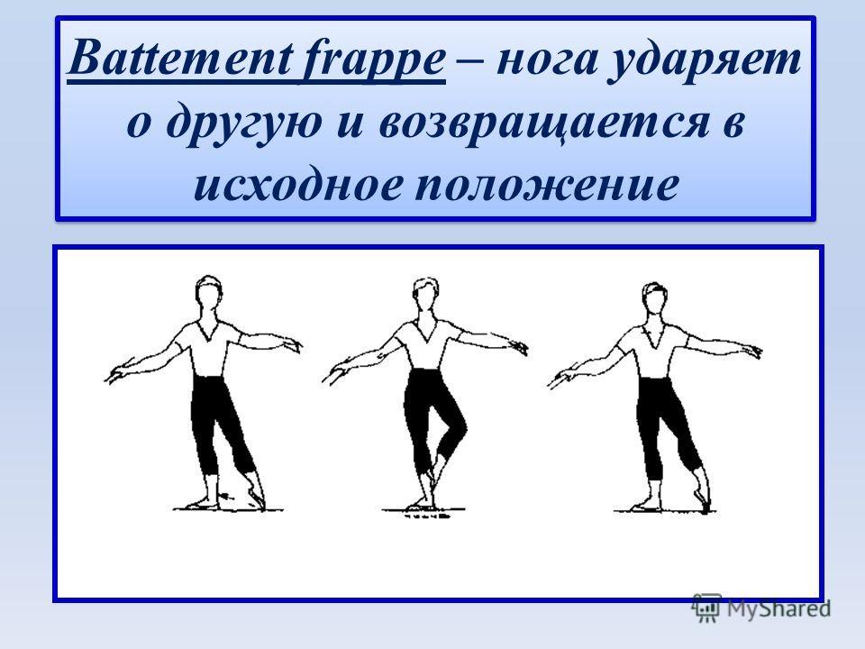 Battement frappe – нога ударяет о другую и возвращается в исходное положение