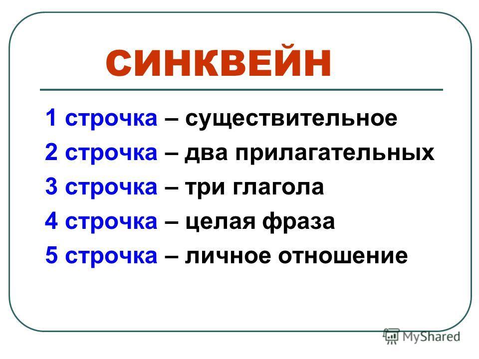СИНКВЕЙН 1 строчка – существительное 2 строчка – два прилагательных 3 строчка – три глагола 4 строчка – целая фраза 5 строчка – личное отношение