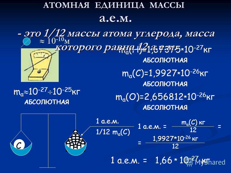 C АТОМНАЯ ЕДИНИЦА МАССЫ 10 -10 м m a 10 -27 10 -25 кг АБСОЛЮТНАЯ m a (H)=1,67375 * 10 -27 кг АБСОЛЮТНАЯ m a (C)=1,9927 * 10 -26 кг АБСОЛЮТНАЯ m a (O)=2,656812 * 10 -26 кг АБСОЛЮТНАЯ 1 а.е.м. 1/12 m a (C) а.е.м. - это 1/12 массы атома углерода, масса