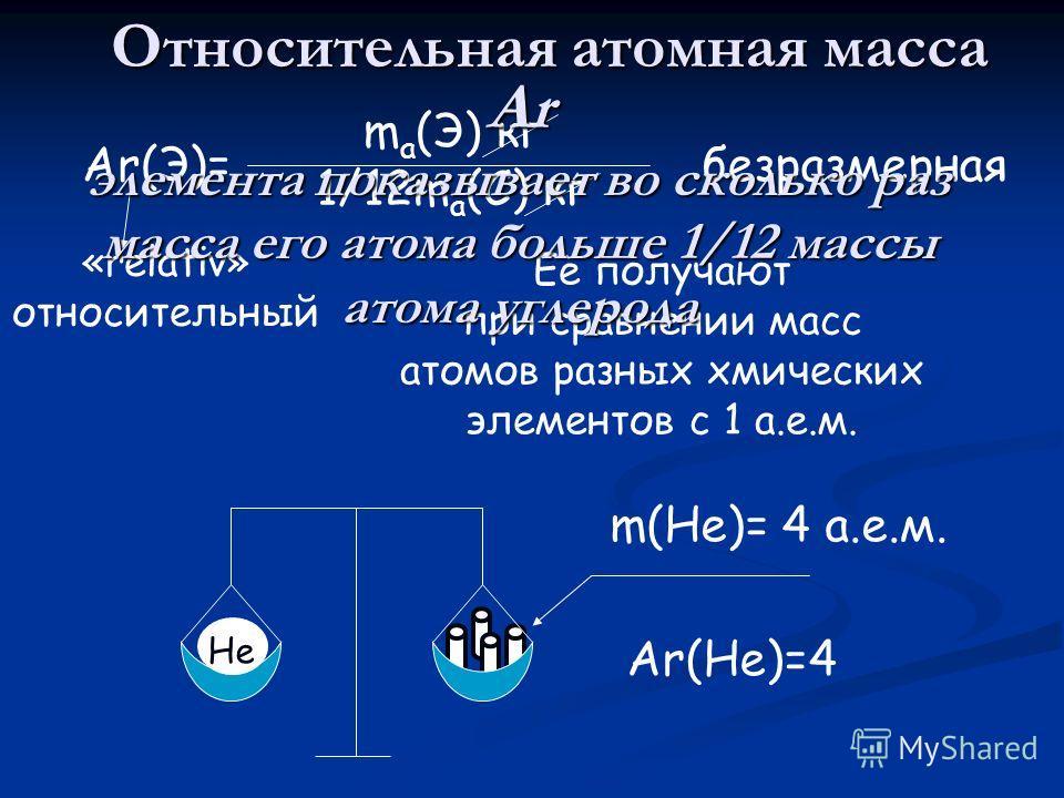 Относительная атомная масса Ar(Э)= m a (Э) кг 1/12m a (C) кг «relativ» относительный Её получают при сравнении масс атомов разных хмических элементов с 1 а.е.м. безразмерная Ar элемента показывает во сколько раз масса его атома больше 1/12 массы атом