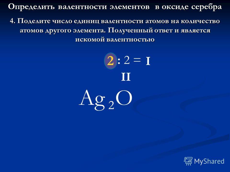 4. Поделите число единиц валентности атомов на количество атомов другого элемента. Полученный ответ и является искомой валентностью Ag 2 2 O : 2 = I 2 II Определить валентности элементов в оксиде серебра