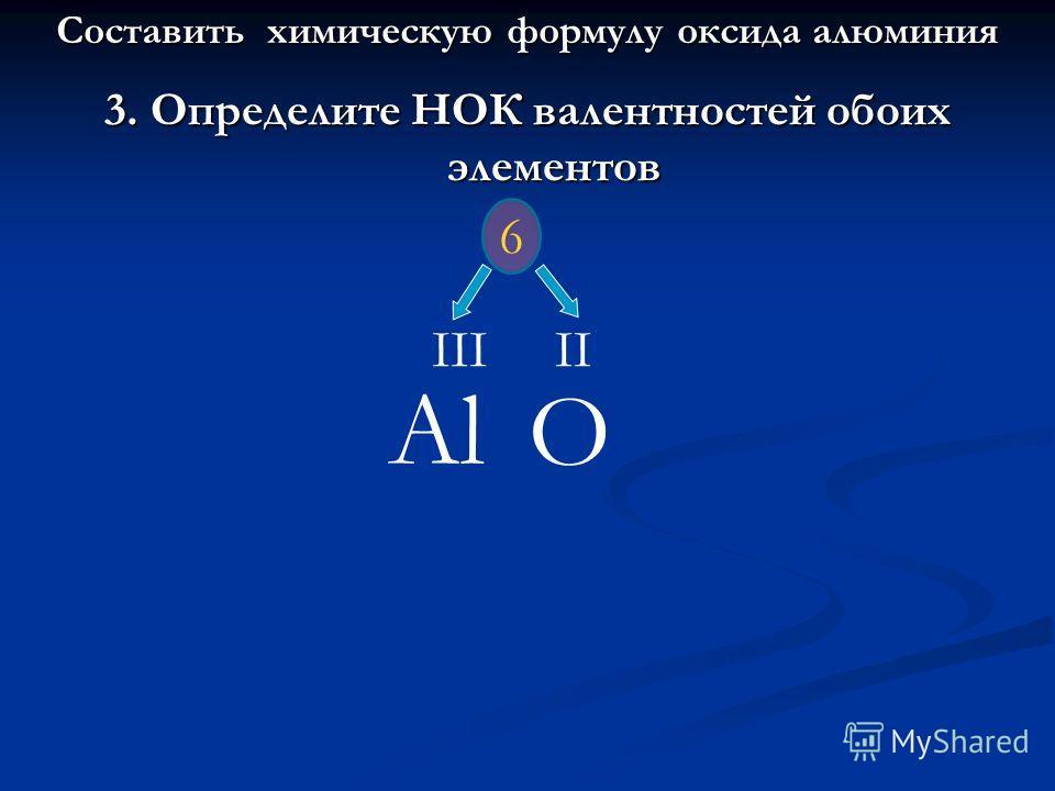 3. Определите НОК валентностей обоих элементов Al O IIIII 6 Составить химическую формулу оксида алюминия