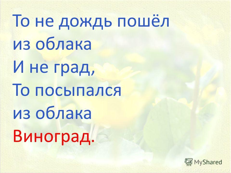 То не дождь пошёл из облака И не град, То посыпался из облака Виноград.