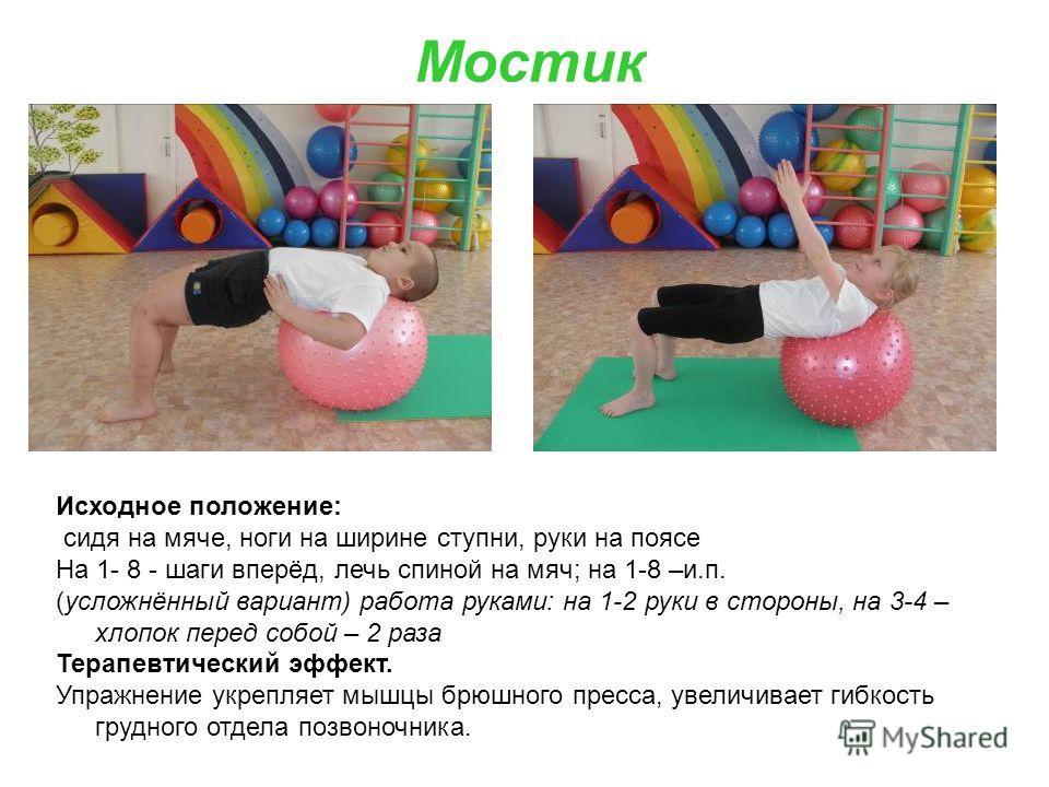 Мостик Исходное положение: сидя на мяче, ноги на ширине ступни, руки на поясе На 1- 8 - шаги вперёд, лечь спиной на мяч; на 1-8 –и.п. (усложнённый вариант) работа руками: на 1-2 руки в стороны, на 3-4 – хлопок перед собой – 2 раза Терапевтический эфф