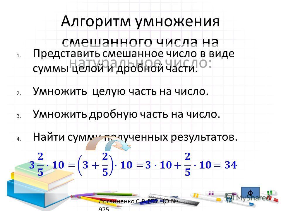 Алгоритм умножения смешанного числа на натуральное число: 1. Представить смешанное число в виде суммы целой и дробной части. 2. Умножить целую часть на число. 3. Умножить дробную часть на число. 4. Найти сумму полученных результатов. ф Логвиненко С.Р