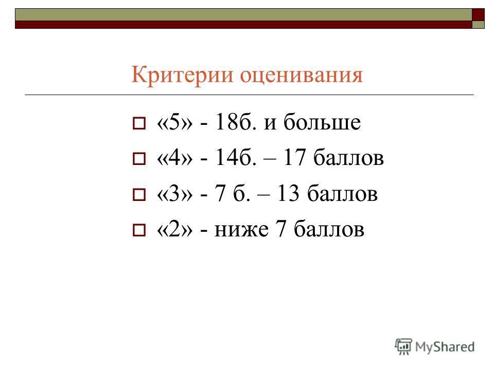 Критерии оценивания «5» - 18б. и больше «4» - 14б. – 17 баллов «3» - 7 б. – 13 баллов «2» - ниже 7 баллов
