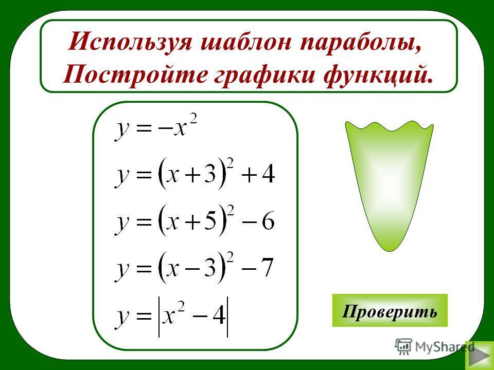 Используя шаблон параболы, Постройте графики функций. Проверить