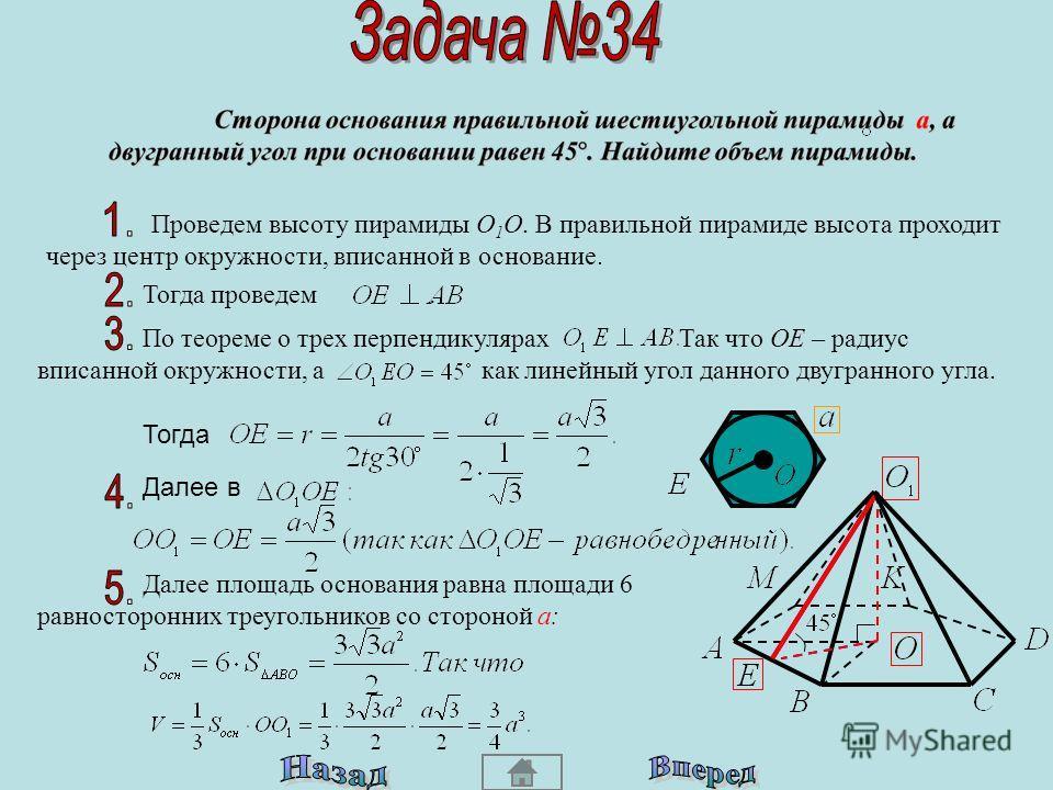 В правильной пирамиде высота проходит через центр окружности, описанной около основания. Тогда: Площадь основания равна площади правильного шестиугольника, то есть площади шести равносторонних треугольников со стороной а. Радиус описанной окружности