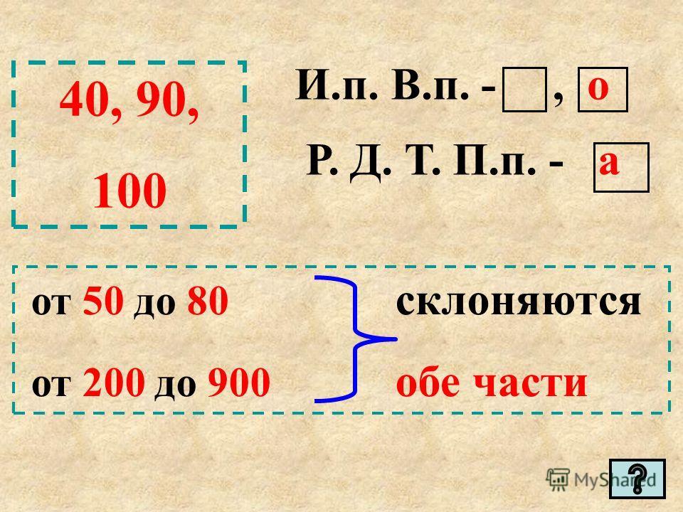 40, 90, 100 И.п. В.п. -, о Р. Д. Т. П.п. - а от 50 до 80 склоняются от 200 до 900 обе части