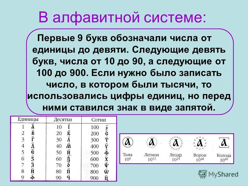 В алфавитной системе: Первые 9 букв обозначали числа от единицы до девяти. Следующие девять букв, числа от 10 до 90, а следующие от 100 до 900. Если нужно было записать число, в котором были тысячи, то использовались цифры единиц, но перед ними стави