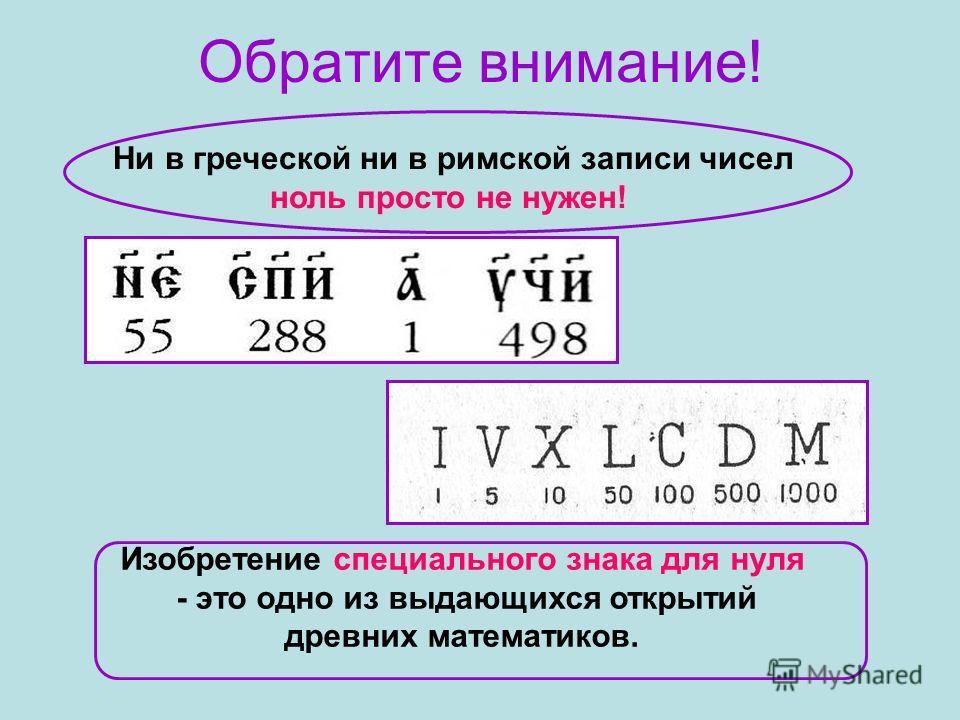 Ни в греческой ни в римской записи чисел ноль просто не нужен! Обратите внимание! Изобретение специального знака для нуля - это одно из выдающихся открытий древних математиков.