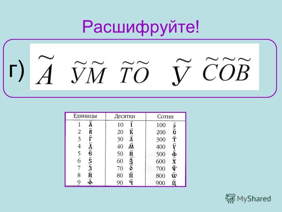 Расшифруйте! г)