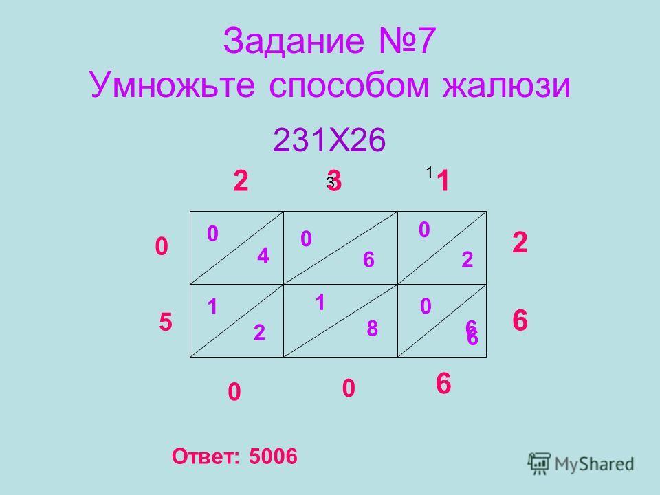 Задание 7 Умножьте способом жалюзи 231Х26 2 3 3 1 1 2 6 0 2 0 6 0 6 6 1 8 0 4 1 2 6 0 0 5 0 Ответ: 5006