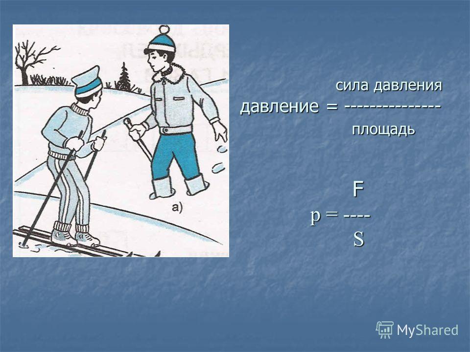 сила давления давление = --------------- площадь F p = ---- S сила давления давление = --------------- площадь F p = ---- S