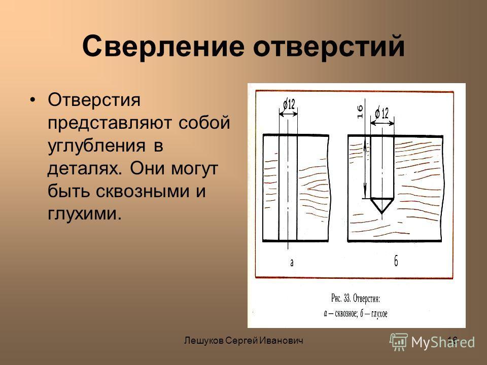 Лешуков Сергей Иванович16 Сверление отверстий Отверстия представляют собой углубления в деталях. Они могут быть сквозными и глухими.