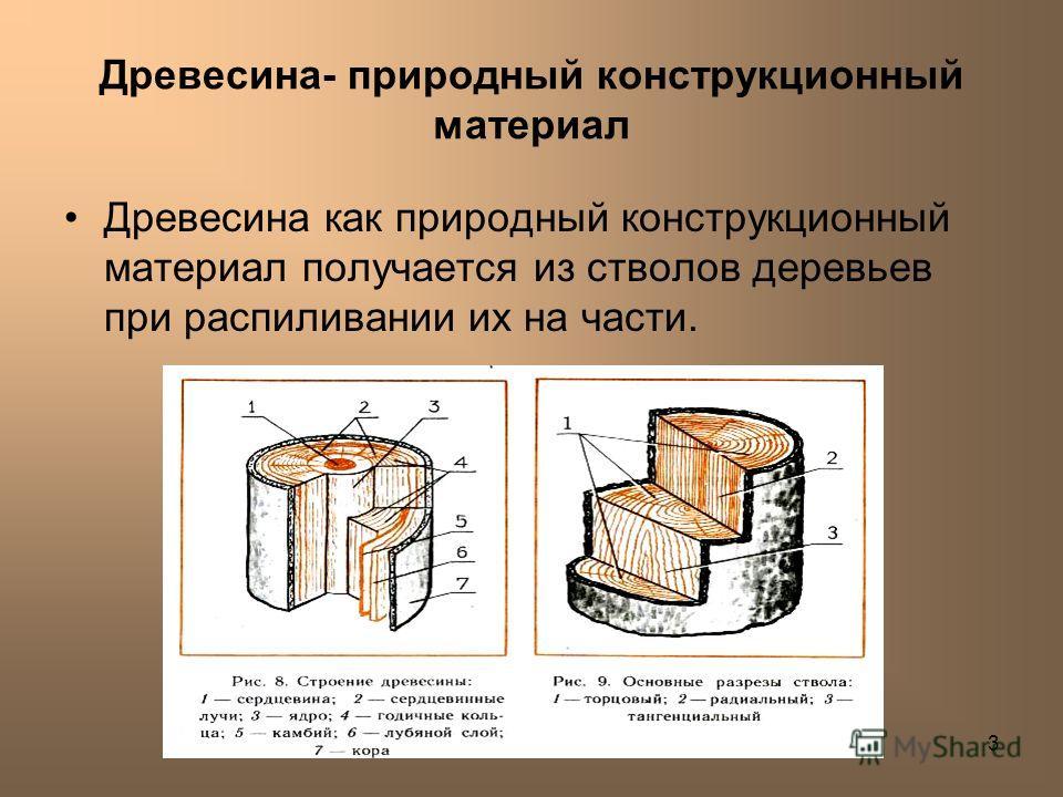 Лешуков Сергей Иванович3 Древесина- природный конструкционный материал Древесина как природный конструкционный материал получается из стволов деревьев при распиливании их на части.