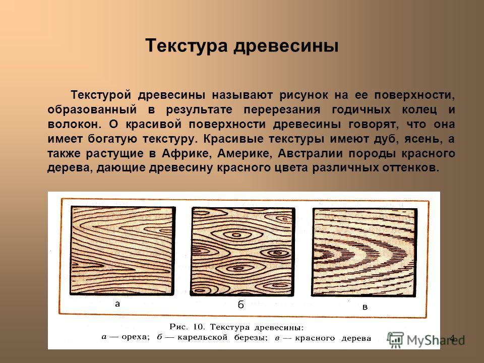 Лешуков Сергей Иванович4 Текстура древесины Текстурой древесины называют рисунок на ее поверхности, образованный в результате перерезания годичных колец и волокон. О красивой поверхности древесины говорят, что она имеет богатую текстуру. Красивые тек