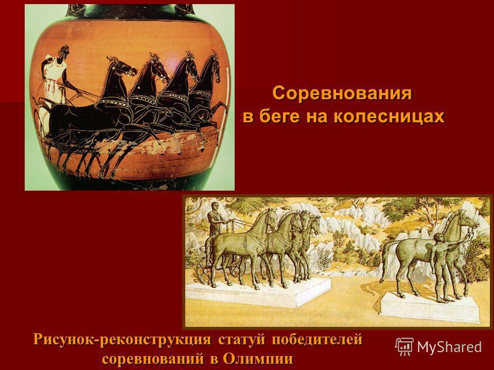 Соревнования в беге на колесницах Рисунок-реконструкция статуй победителей соревнований в Олимпии
