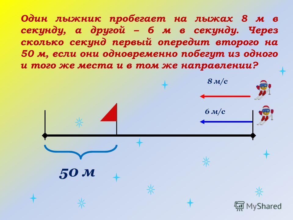 50 м 6 м/с 8 м/с Один лыжник пробегает на лыжах 8 м в секунду, а другой – 6 м в секунду. Через сколько секунд первый опередит второго на 50 м, если они одновременно побегут из одного и того же места и в том же направлении?