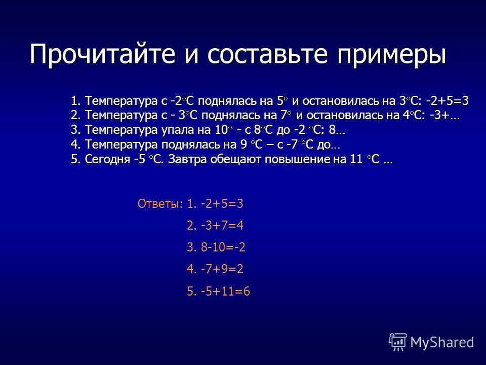 Прочитайте и составьте примеры 1. Температура с -2 С поднялась на 5 и остановилась на 3 С: -2+5=3 2. Температура с - 3 С поднялась на 7 и остановилась на 4 С: -3+… 3. Температура упала на 10 - с 8 С до -2 С: 8… 4. Температура поднялась на 9 С – с -7