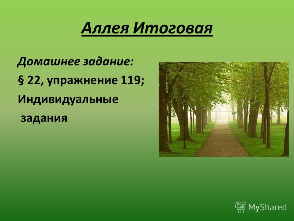 Аллея Итоговая Домашнее задание: § 22, упражнение 119; Индивидуальные задания