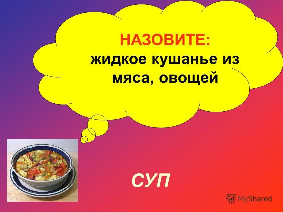 НАЗОВИТЕ: жидкое кушанье из мяса, овощей СУП