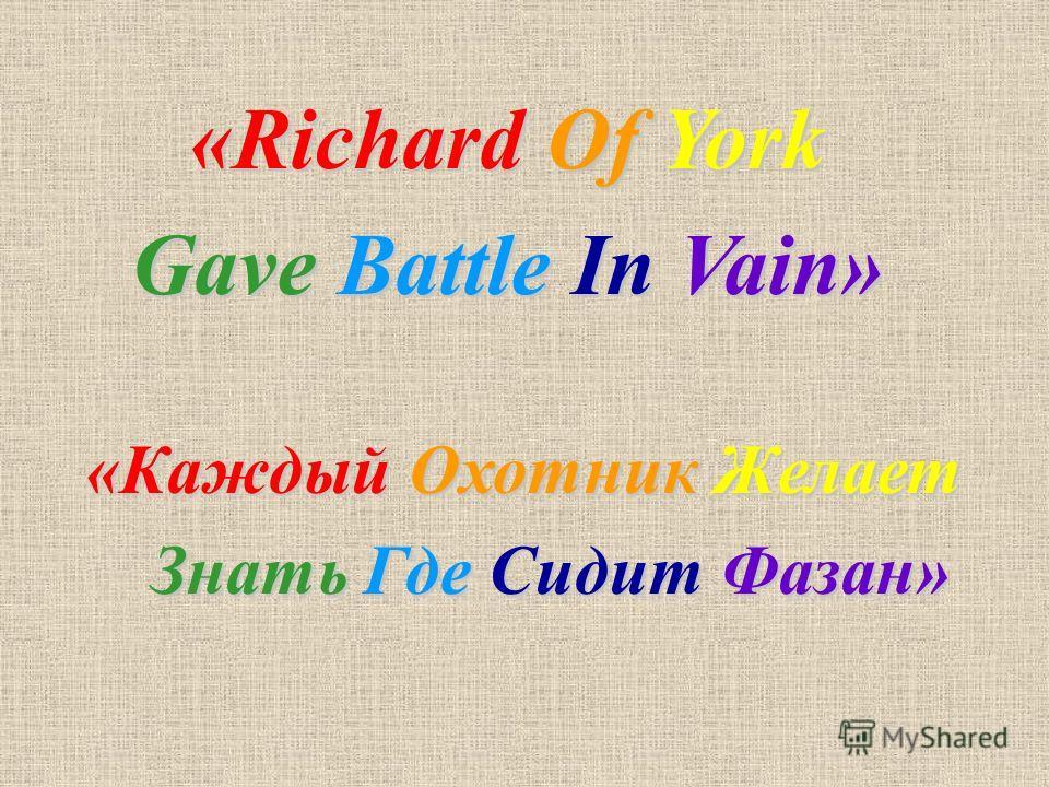 «Каждый Охотник Желает Знать Где Сидит Фазан» Знать Где Сидит Фазан» «Richard Of York Gave Battle In Vain»