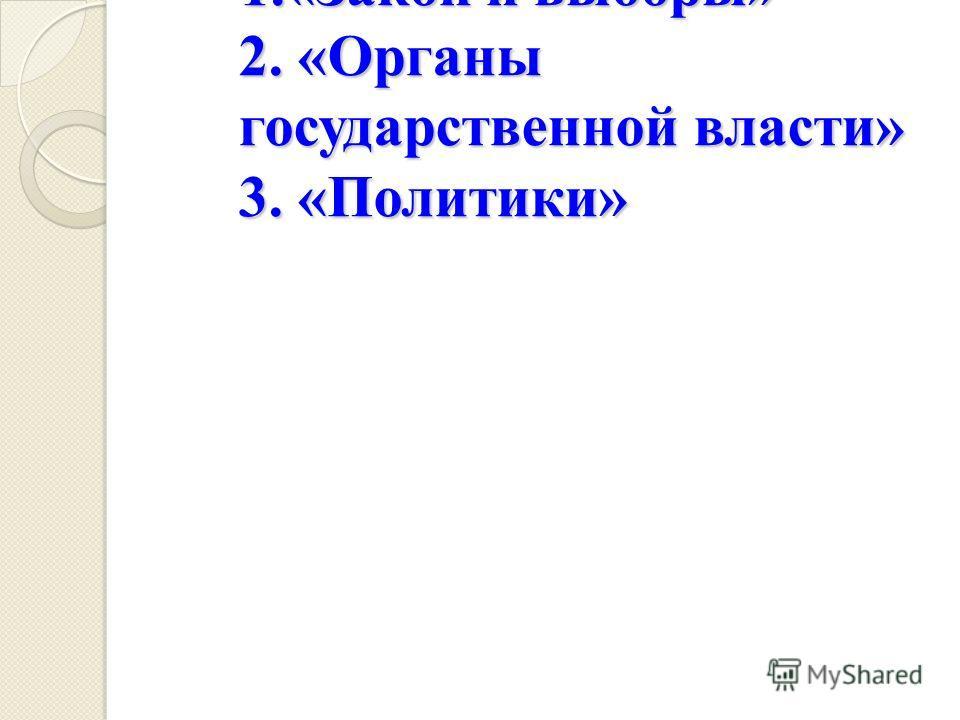 1.«Закон и выборы» 2. «Органы государственной власти» 3. «Политики» 1.«Закон и выборы» 2. «Органы государственной власти» 3. «Политики»