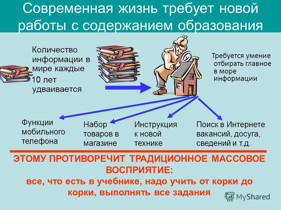 Современная жизнь требует новой работы с содержанием образования Количество информации в мире каждые 10 лет удваивается Требуется умение отбирать главное в море информации ЭТОМУ ПРОТИВОРЕЧИТ ТРАДИЦИОННОЕ МАССОВОЕ ВОСПРИЯТИЕ: все, что есть в учебнике,