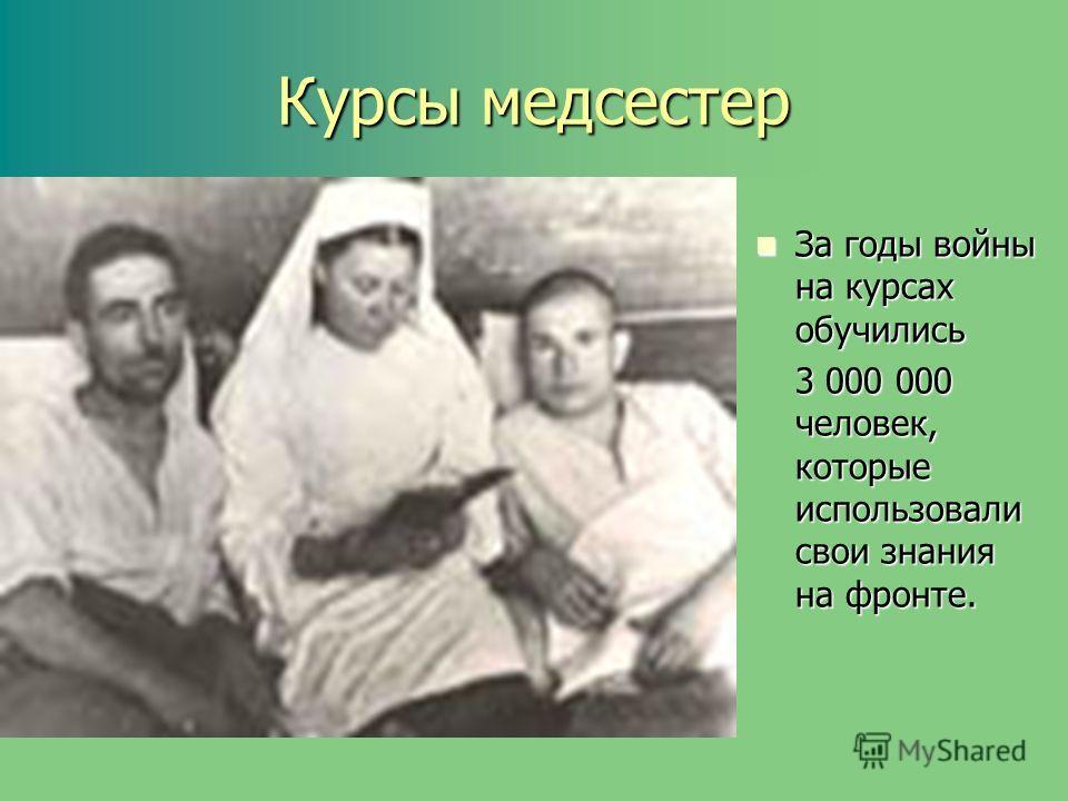 Курсы медсестер За годы войны на курсах обучились За годы войны на курсах обучились 3 000 000 человек, которые использовали свои знания на фронте.