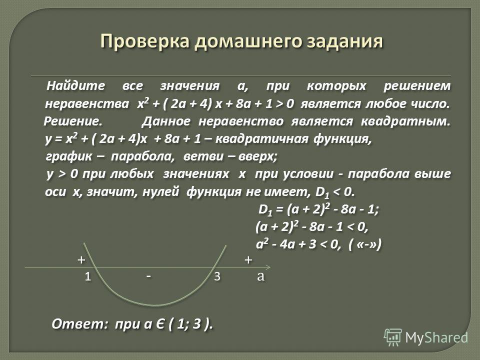 Найдите все значения а, при которых решением неравенства х 2 + ( 2а + 4) х + 8а + 1 > 0 является любое число. Решение. Данное неравенство является квадратным. у = х 2 + ( 2а + 4)х + 8а + 1 – квадратичная функция, график – парабола, ветви – вверх; у >