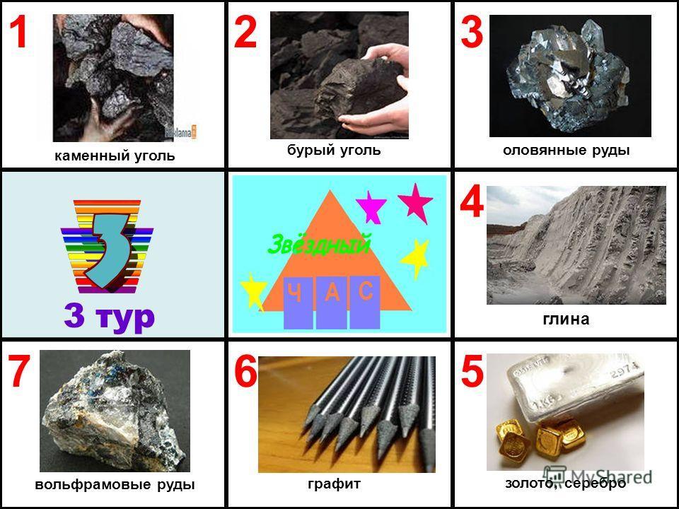 123 4 765 3 тур каменный уголь бурый уголь золото, серебро графит вольфрамовые руды глина оловянные руды