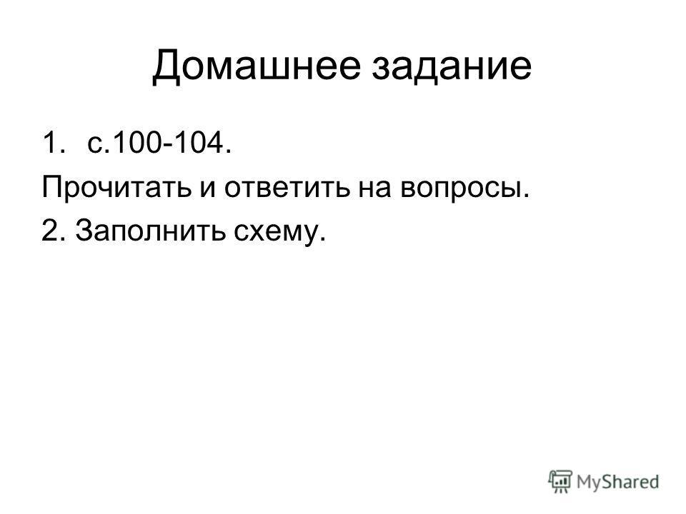 Домашнее задание 1.с.100-104. Прочитать и ответить на вопросы. 2. Заполнить схему.