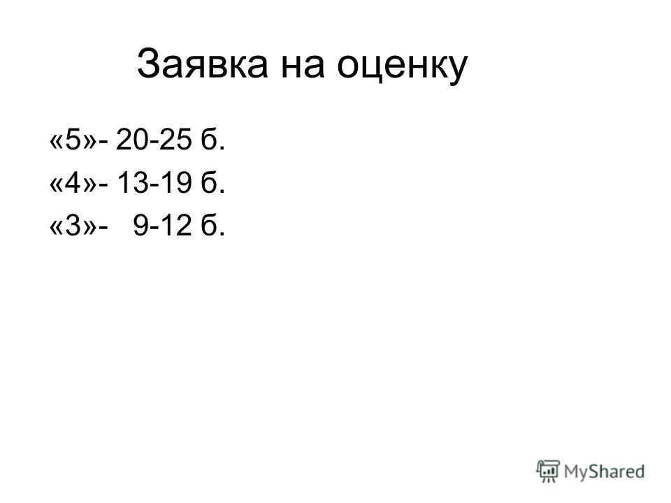 Заявка на оценку «5»- 20-25 б. «4»- 13-19 б. «3»- 9-12 б.