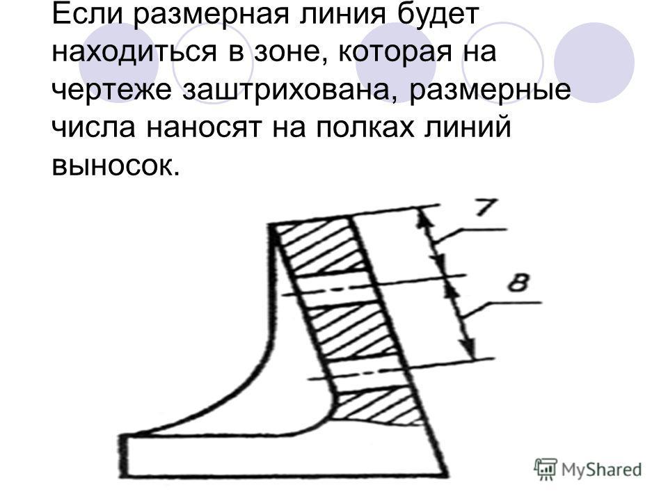 Если размерная линия будет находиться в зоне, которая на чертеже заштрихована, размерные числа наносят на полках линий выносок.
