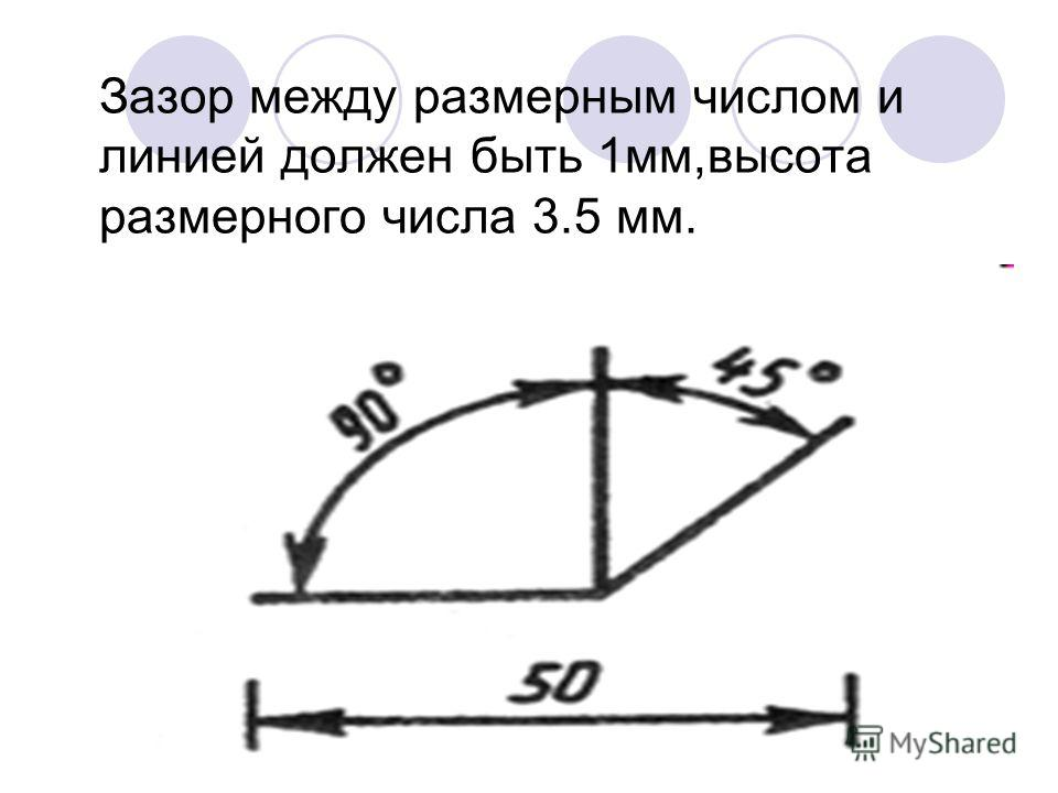 Зазор между размерным числом и линией должен быть 1мм,высота размерного числа 3.5 мм.