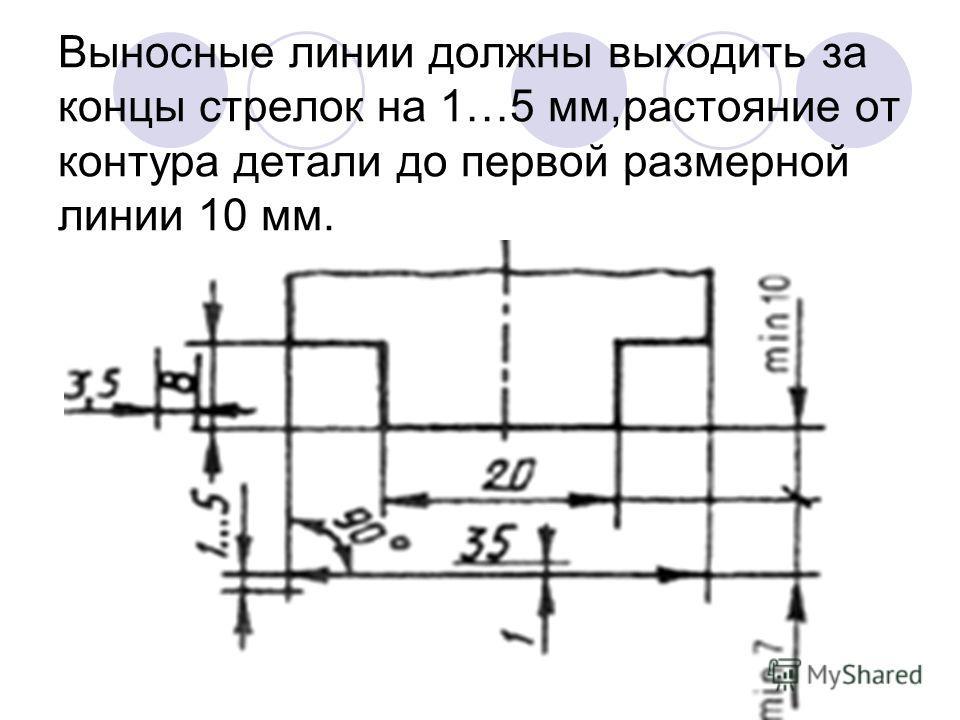 Выносные линии должны выходить за концы стрелок на 1…5 мм,растояние от контура детали до первой размерной линии 10 мм.