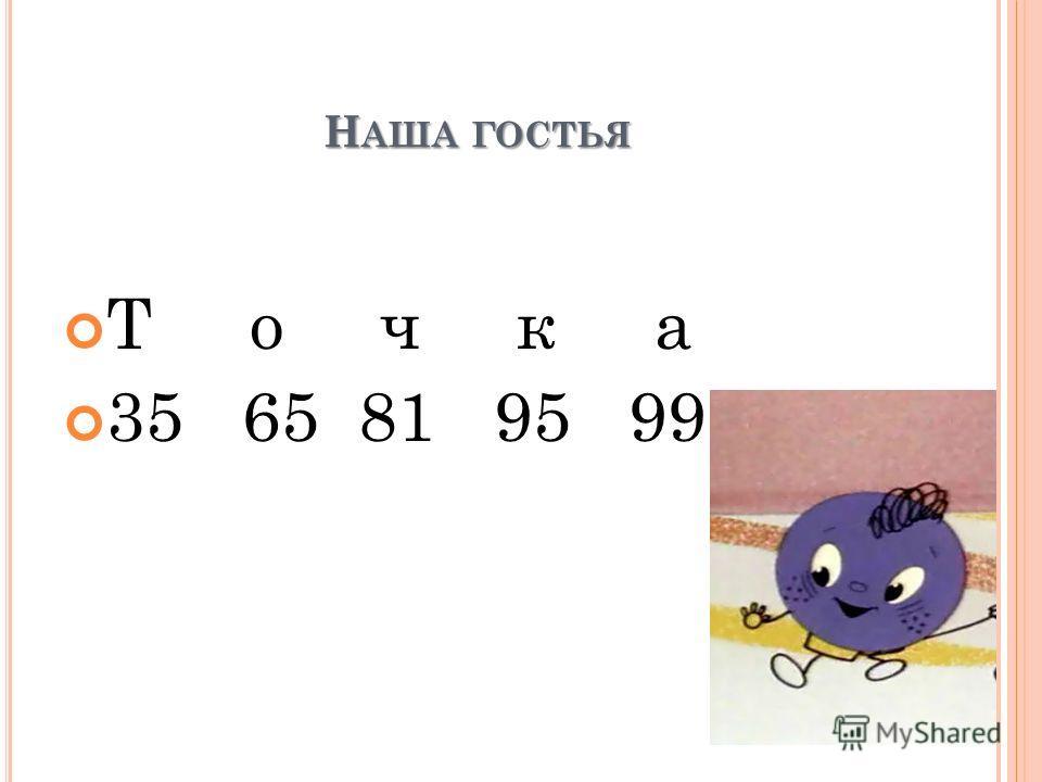Н АША ГОСТЬЯ Т о ч к а 35 65 81 95 99