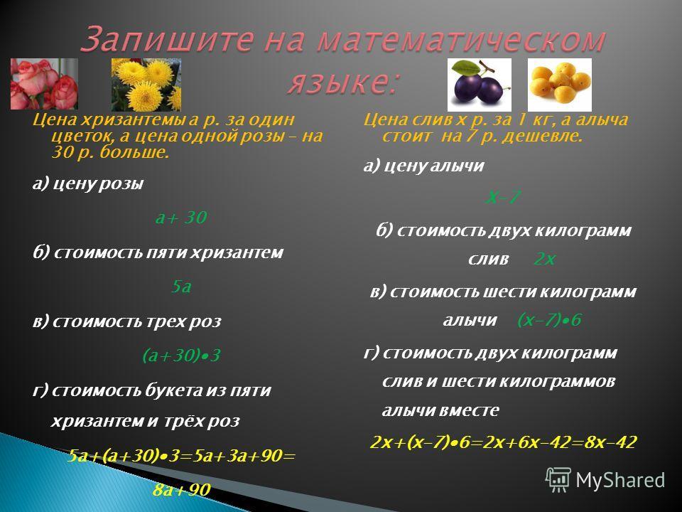 Цена хризантемы а р. за один цветок, а цена одной розы – на 30 р. больше. а) цену розы а+ 30 б) стоимость пяти хризантем 5а в) стоимость трех роз (а+30)3 г) стоимость букета из пяти хризантем и трёх роз 5а+(а+30)3=5а+3а+90= 8а+90 Цена слив х р. за 1