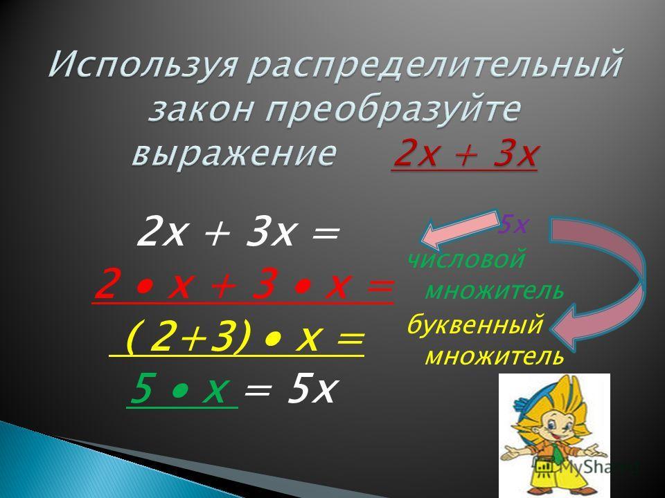 2х + 3х = 2 х + 3 х = ( 2+3) х = 5 х = 5х 5х числовой множитель буквенный множитель