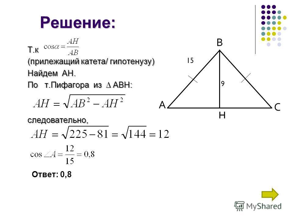Решение: Т.к (прилежащий катета/ гипотенузу) Найдем АН. По т.Пифагора из АВН: следовательно, А С В H 15 9 Ответ: 0,8