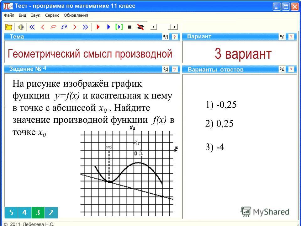 Геометрический смысл производной 3 вариант 1) -0,25 4 2) 0,25 5432 На рисунке изображён график функции y=f(x) и касательная к нему в точке с абсциссой x 0. Найдите значение производной функции f(x) в точке x 0 3) -4