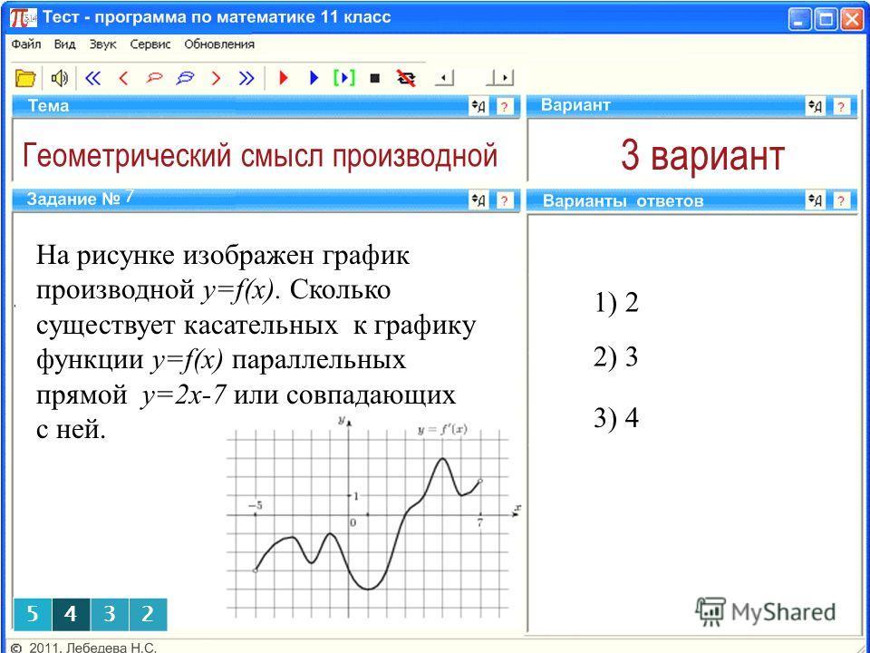 Геометрический смысл производной 3 вариант На рисунке изображен график производной y=f(x). Сколько существует касательных к графику функции y=f(x) параллельных прямой у=2х-7 или совпадающих с ней. 1) 2 7 2) 3 3) 4 5432