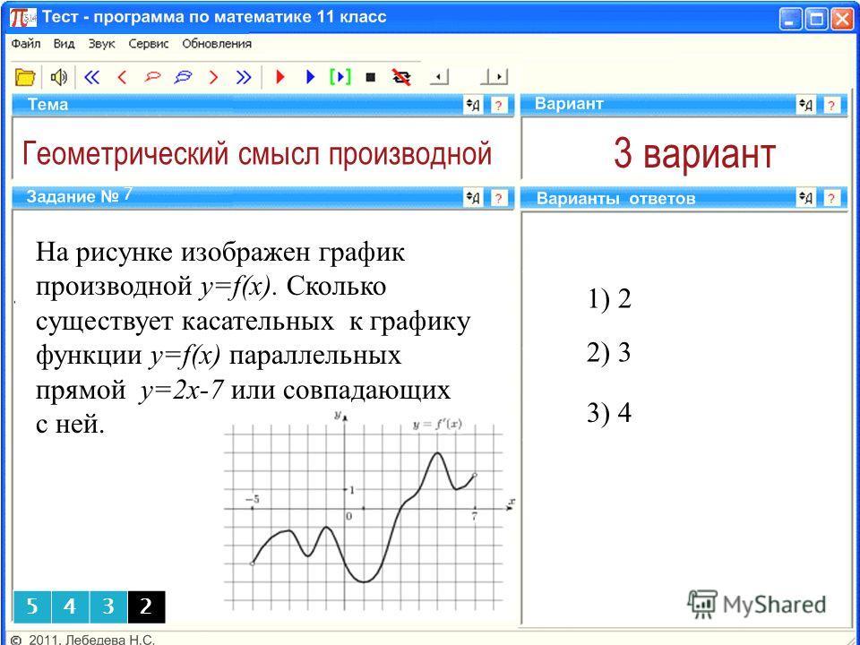 Геометрический смысл производной 3 вариант На рисунке изображен график производной y=f(x). Сколько существует касательных к графику функции y=f(x) параллельных прямой у=2х-7 или совпадающих с ней. 1) 2 7 5432 3) 4 2) 3